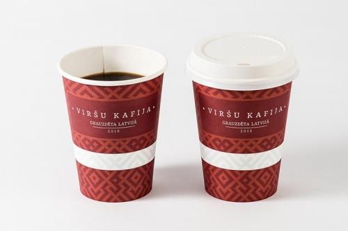 viršu kafija papīra krūzītēs