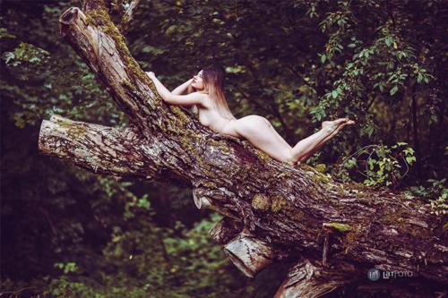 erotisks attēls ar sievieti mežā