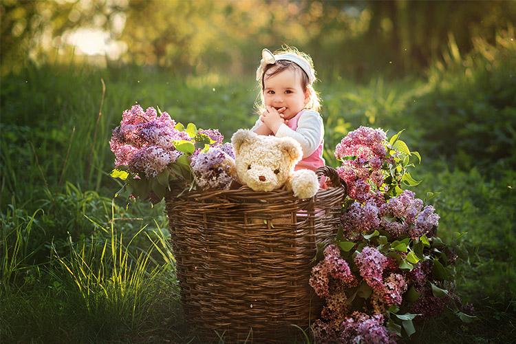 maza meitenīte groziņā kopā ar daudz ceriņiem
