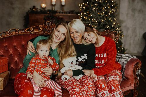 ģimenisks foto studijā, Ziemassvētku noskaņās