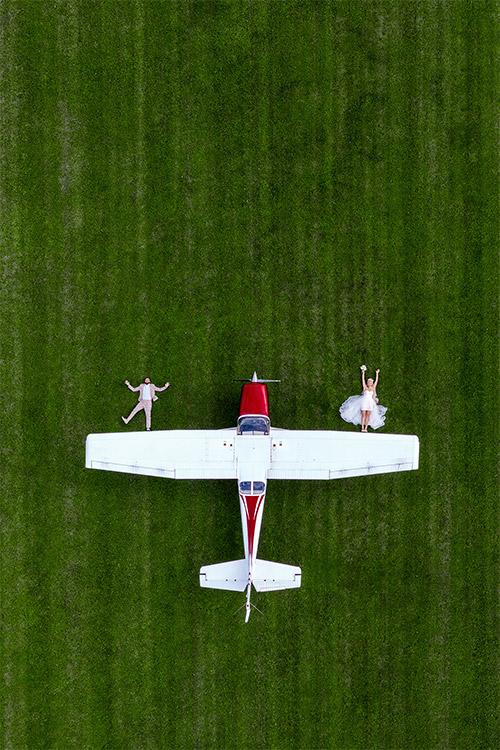oriģināla ideja par foto uz lidlauka
